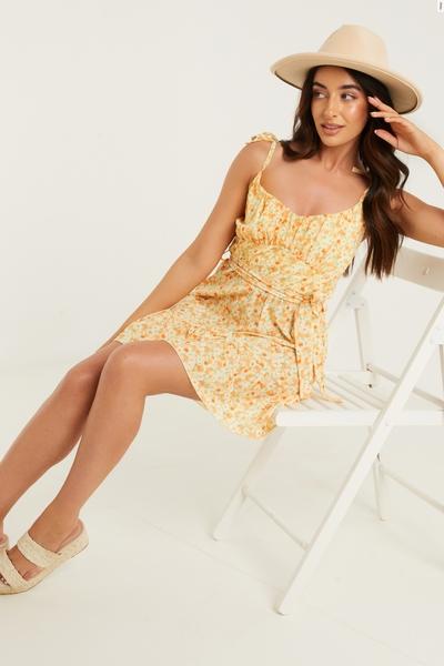 Petite Yellow Smudge Spot Print Dress